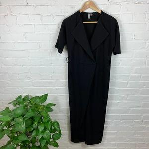 ASOS Short Sleeve Shawl Collar Jumpsuit Black SZ 4